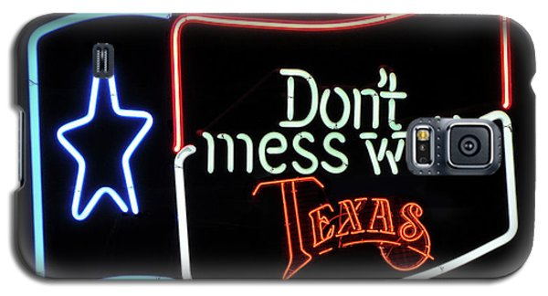 Galaxy S5 Case featuring the photograph Texas Flag Saloon Neon by Daniel Hagerman