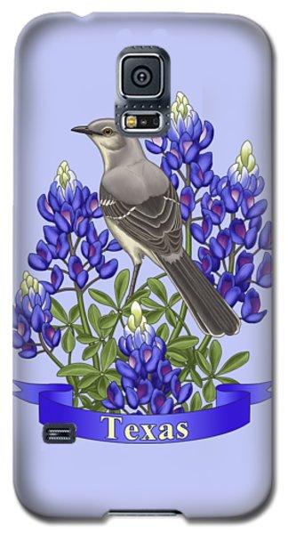 Mockingbird Galaxy S5 Case - Texas State Mockingbird And Bluebonnet Flower by Crista Forest