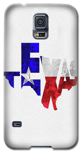 Texas Typographic Map Flag Galaxy S5 Case
