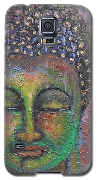 Galaxy S5 Case featuring the painting Textured Green Buddha by Prerna Poojara