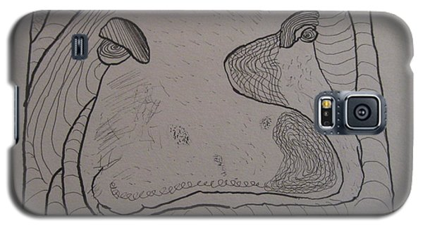 Galaxy S5 Case featuring the drawing Textured Hippo by AJ Brown