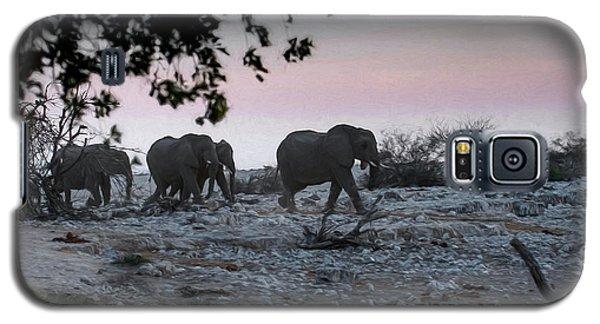Galaxy S5 Case featuring the digital art The African Elephants by Ernie Echols