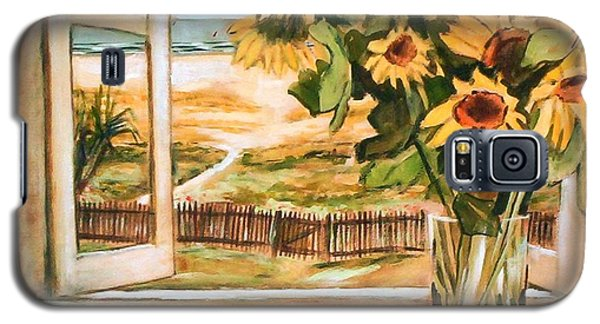Galaxy S5 Case featuring the painting The Beach Sunflowers by Winsome Gunning