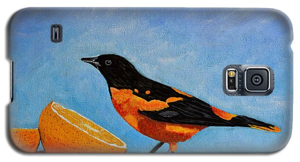 Galaxy S5 Case featuring the painting The Bird And Orange by Laura Forde