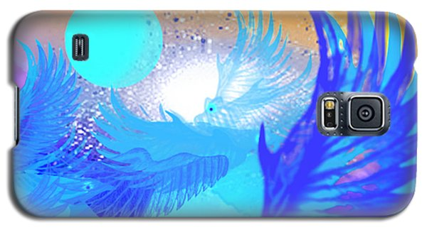 Galaxy S5 Case featuring the digital art The Blue Avians by Ute Posegga-Rudel
