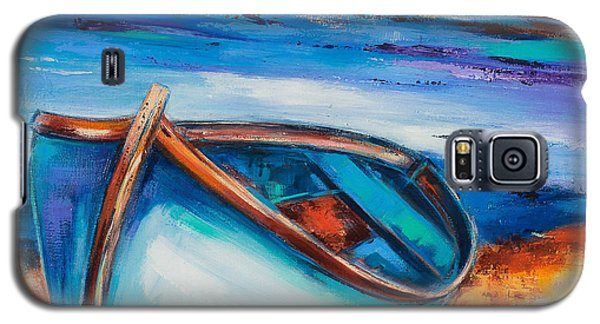 Galaxy S5 Case featuring the painting The Blue Boat by Elise Palmigiani