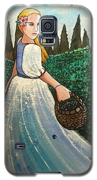 Galaxy S5 Case featuring the painting The Blueberry Harvest by Mary Ellen Frazee