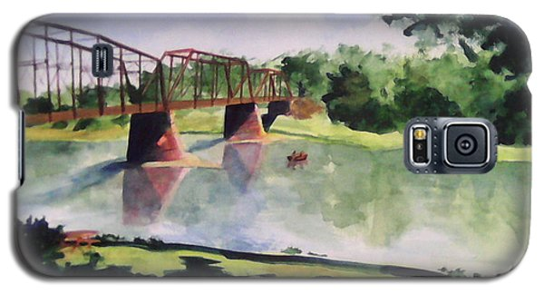 Galaxy S5 Case featuring the painting The Bridge At Ft. Benton by Andrew Gillette