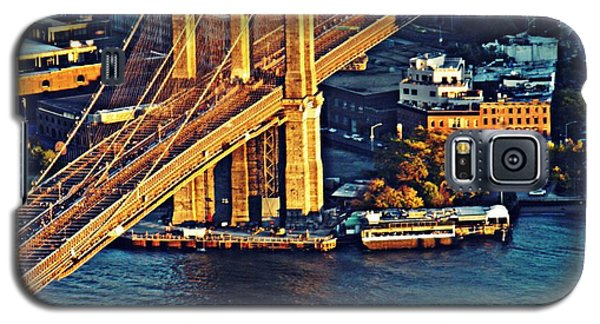 Galaxy S5 Case featuring the photograph The Brooklyn Bridge At Sunset   by Sarah Loft
