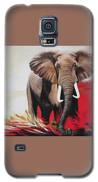 Galaxy S5 Case featuring the painting The Bull Elephant - Constitution by Sigrid Tune