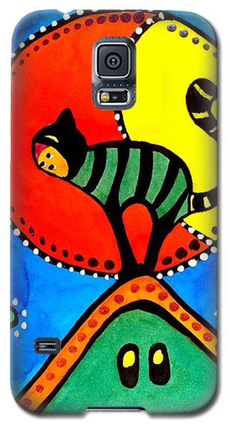 Galaxy S5 Case featuring the painting The Cat And The Moon - Cat Art By Dora Hathazi Mendes by Dora Hathazi Mendes
