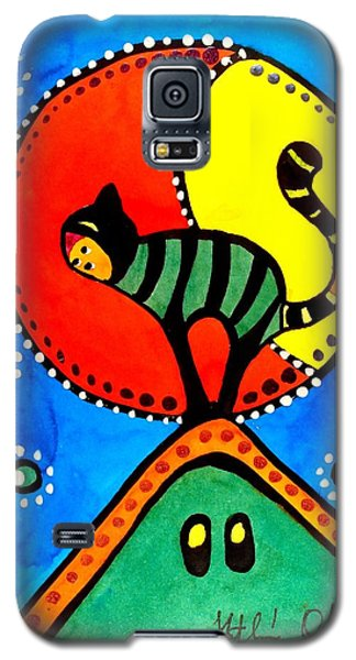 The Cat And The Moon - Cat Art By Dora Hathazi Mendes Galaxy S5 Case by Dora Hathazi Mendes