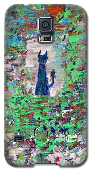 Galaxy S5 Case featuring the painting The Cat In The Garden by Fabrizio Cassetta