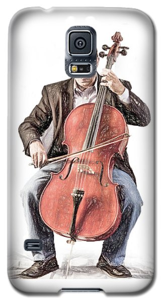 Galaxy S5 Case featuring the photograph The Cello Player In Sketch by David and Carol Kelly