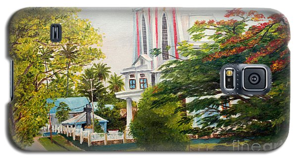 Galaxy S5 Case featuring the painting The Church In My Village by Jason Sentuf