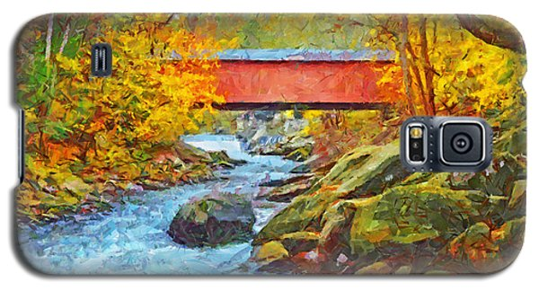 Galaxy S5 Case featuring the digital art The Covered Bridge At Mcconnells Mill State Park by Digital Photographic Arts
