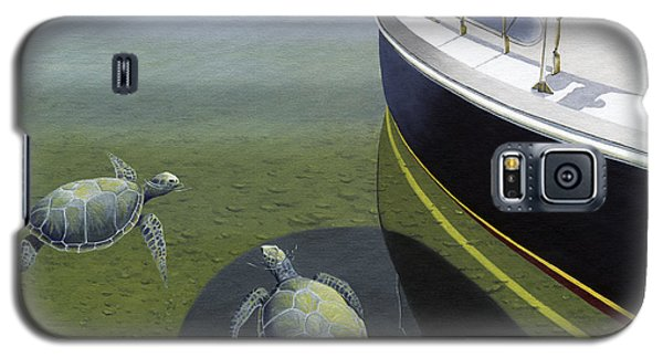 Galaxy S5 Case featuring the painting The Curiosity Of Sea Turtles by Gary Giacomelli