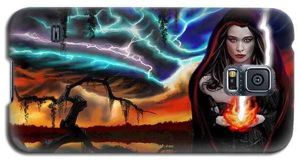 Galaxy S5 Case featuring the painting The Dark Caster Calls The Storm by James Christopher Hill