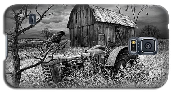 Galaxy S5 Case featuring the photograph The Decline And Death Of The Small Farm In Black And White by Randall Nyhof