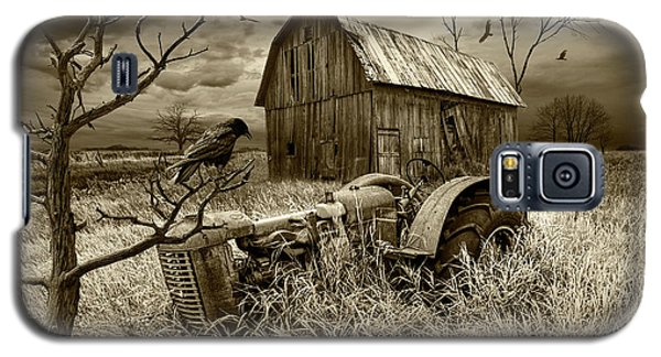 Galaxy S5 Case featuring the photograph The Decline And Death Of The Small Farm In Sepia Tone by Randall Nyhof