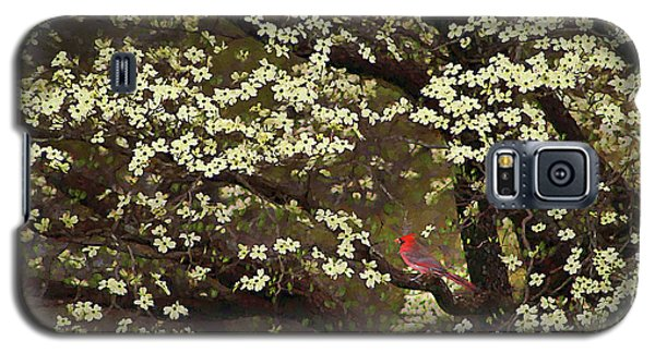 Galaxy S5 Case featuring the digital art The Dogwoods And The Cardinal by Darren Fisher