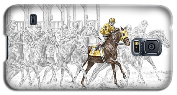 Galaxy S5 Case featuring the drawing The Favorite - Thoroughbred Race Print Color Tinted by Kelli Swan