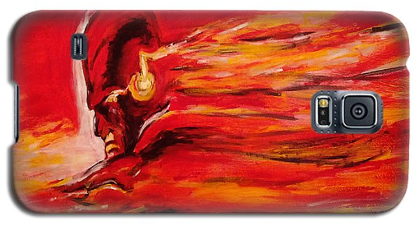 Galaxy S5 Case featuring the painting The Flash Comic Book Superhero Character Flash Gordon Lightning In Red Yellow Acrylic Cotton Canvas  by M Zimmerman MendyZ