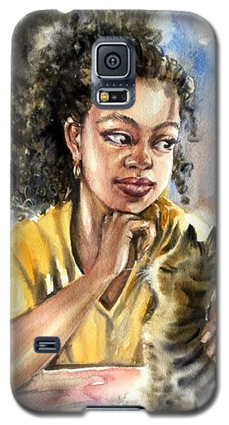 The Girl With A Cat Galaxy S5 Case