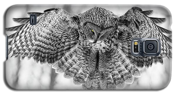 Galaxy S5 Case featuring the photograph The Great Grey Owl In Black And White by Mircea Costina Photography