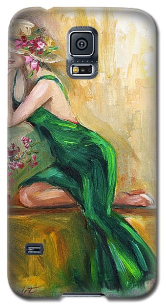 Galaxy S5 Case featuring the painting The Green Charmeuse  by Jennifer Beaudet