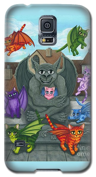 Galaxy S5 Case featuring the painting The Guardian Gargoyle Aka The Kitten Sitter by Carrie Hawks