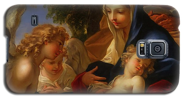 Galaxy S5 Case featuring the painting The Holy Family With Angels by Seastiano Ricci