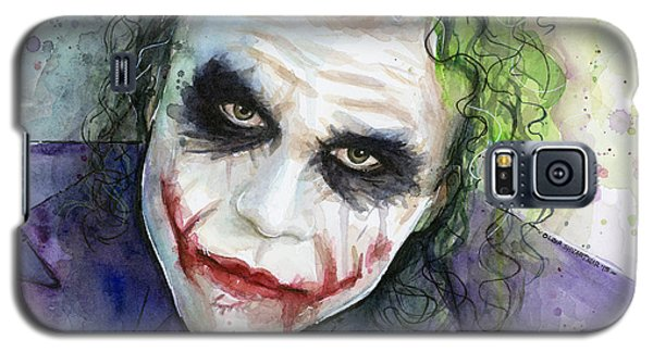 The Joker Watercolor Galaxy S5 Case by Olga Shvartsur