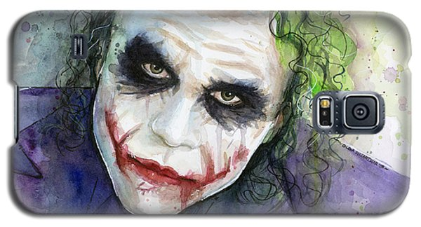 Heath Ledger Galaxy S5 Case - The Joker Watercolor by Olga Shvartsur