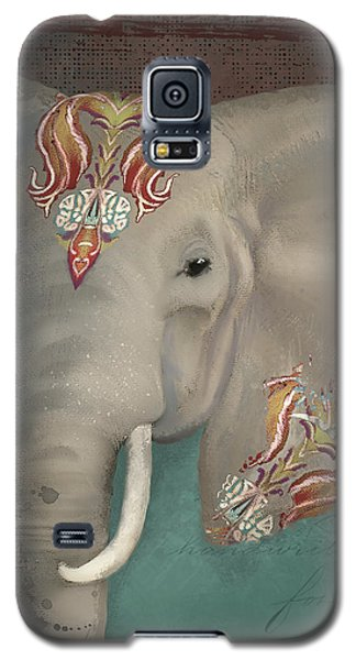 Galaxy S5 Case featuring the painting The King - African Bull Elephant - Kashmir Paisley Tribal Pattern Safari Home Decor by Audrey Jeanne Roberts