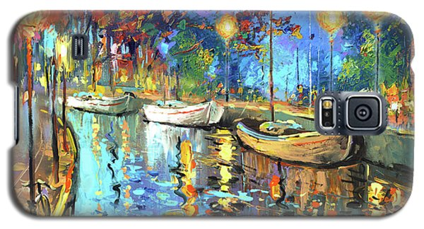 Galaxy S5 Case featuring the painting The Lights Of The Sleeping City by Dmitry Spiros