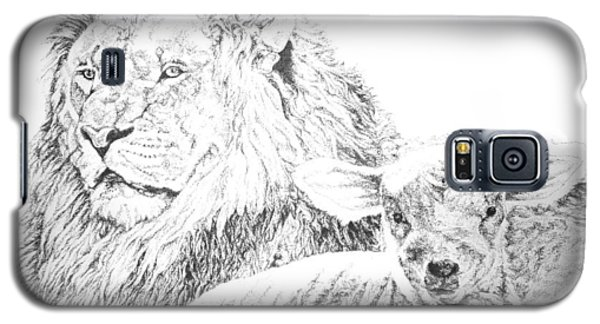 Galaxy S5 Case featuring the drawing The Lion And The Lamb by Bryan Bustard