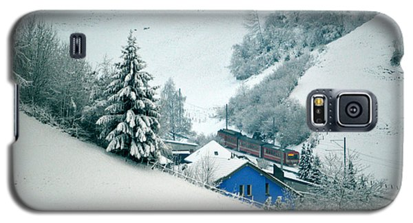 Galaxy S5 Case featuring the photograph The Little Red Train - Winter In Switzerland  by Susanne Van Hulst