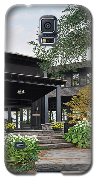 Galaxy S5 Case featuring the painting The Lodge At Fawn Island by Kenneth M Kirsch