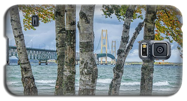 The Mackinaw Bridge By The Straits Of Mackinac In Autumn With Birch Trees Galaxy S5 Case