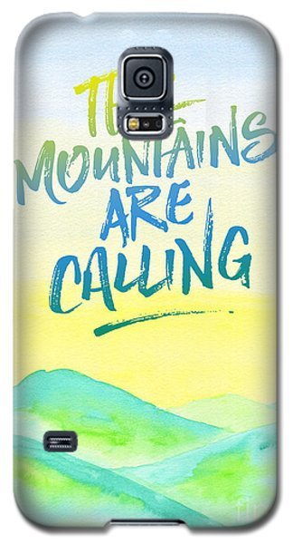 The Mountains Are Calling Yellow Blue Sky Watercolor Painting Galaxy S5 Case