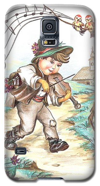 Galaxy S5 Case featuring the drawing The Musician by Sorin Apostolescu