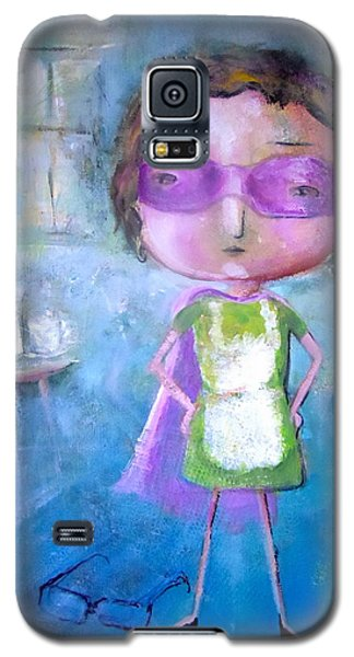 Galaxy S5 Case featuring the painting The Nerearsighted Super Mom by Eleatta Diver