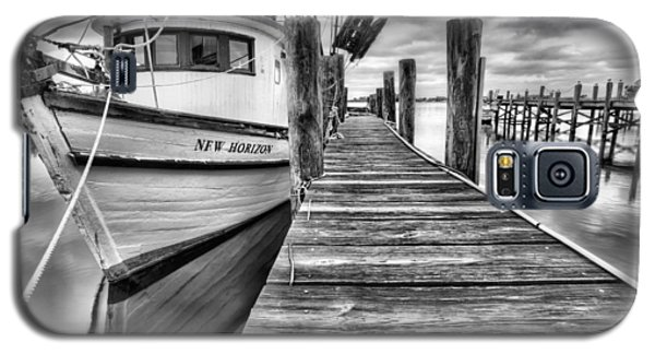 Galaxy S5 Case featuring the photograph The New Horizon Shrimp Boat Bw by JC Findley