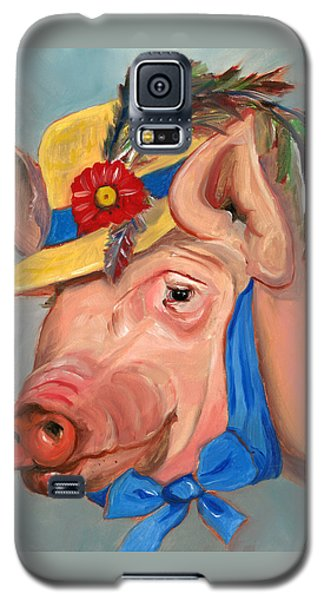Galaxy S5 Case featuring the painting The Noble Pig by Susan Thomas