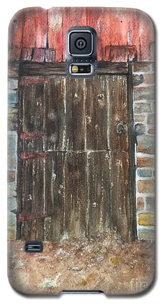 Galaxy S5 Case featuring the painting The Old Barn Door by Lucia Grilletto