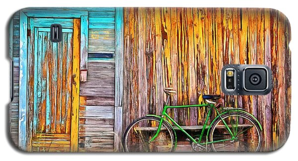 Galaxy S5 Case featuring the painting The Old Green Bicycle by Edward Fielding