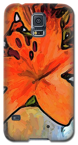 The Orange Lilies In The Mother Of Pearl Vase Galaxy S5 Case