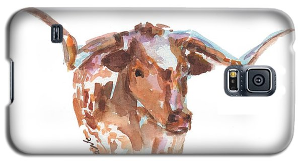 The Original Longhorn Standing Earth Quack Watercolor Painting By Kmcelwaine Galaxy S5 Case
