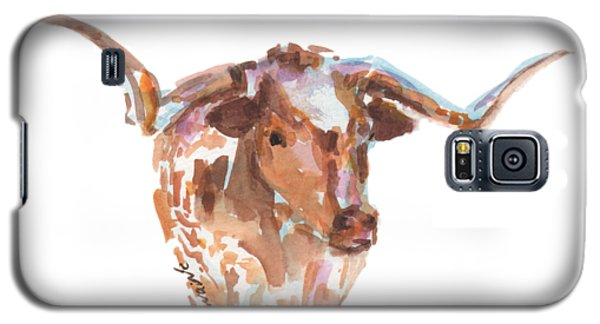 Cow Galaxy S5 Case - The Original Longhorn Standing Earth Quack Watercolor Painting By Kmcelwaine by Kathleen McElwaine